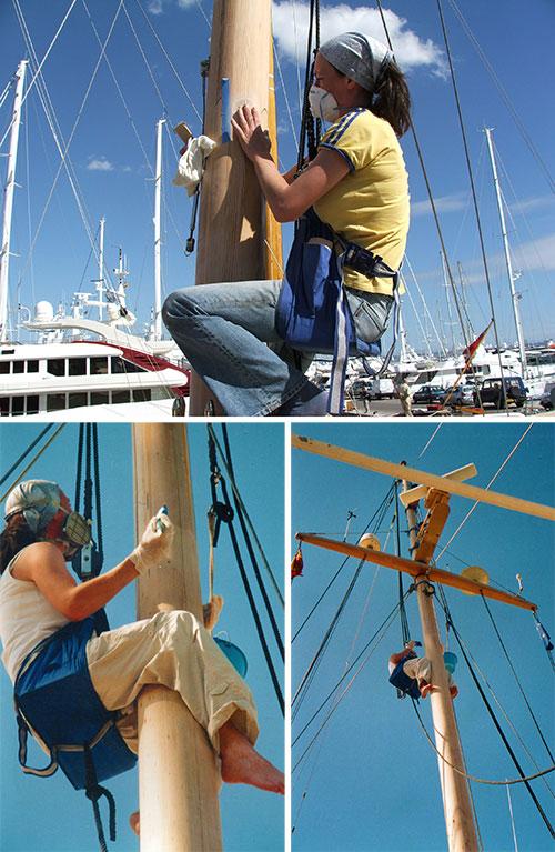 Sarah Greenwood of Classic Yacht Varnish prepares and varnishes a classic yacht's mast. Restoring classic yachts is Classic Yacht Varnish's passion.